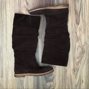 Brown slouch boots